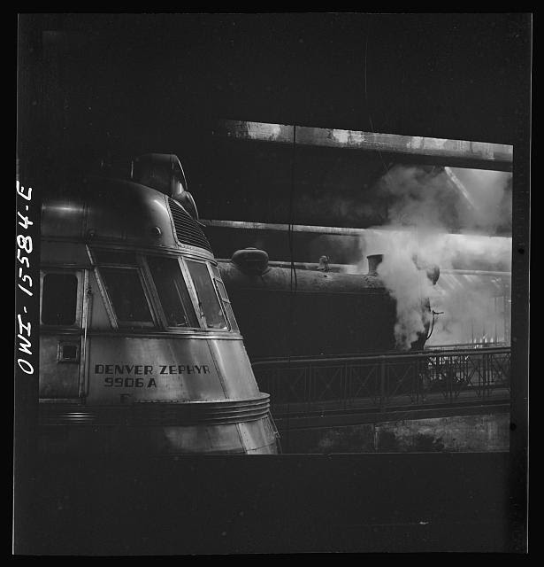 Chicago, Illinois. Steam and diesel engine at the Union Station