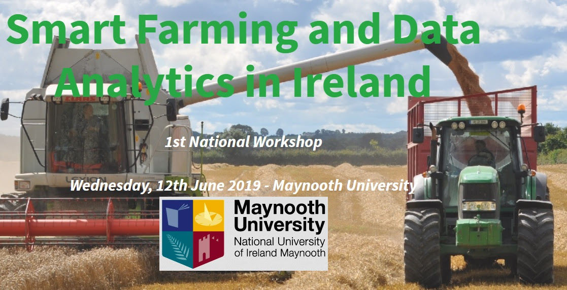 Images shows flyer for smart farming workshop in Maynooth University featuring images of farm machinery