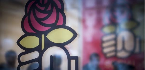 Le logo du Parti socialiste au siège de Solferino, le 9 janvier 2017 (P. LOPEZ/AFP).