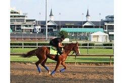 Justify gallops at Churchill Downs