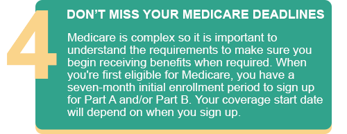 DON'T MISS YOUR MEDICARE DEADLINES