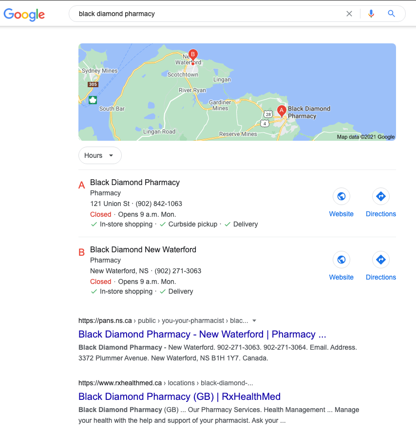 google SERP for black diamond pharmacy displaying maps