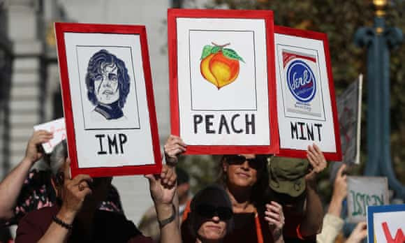 San Francisco activists call for the impeachment of Donald Trump.