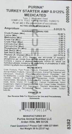 Photo 12: Label, Purina Turkey Starter AMP 0.0125%