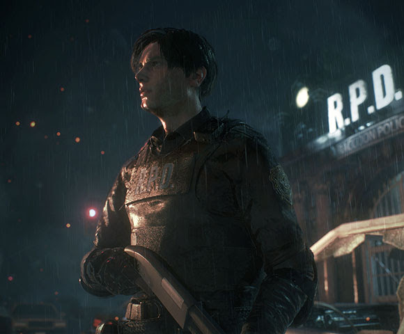 Leon S. Kennedy standing outside the Raccoon City Police Department
