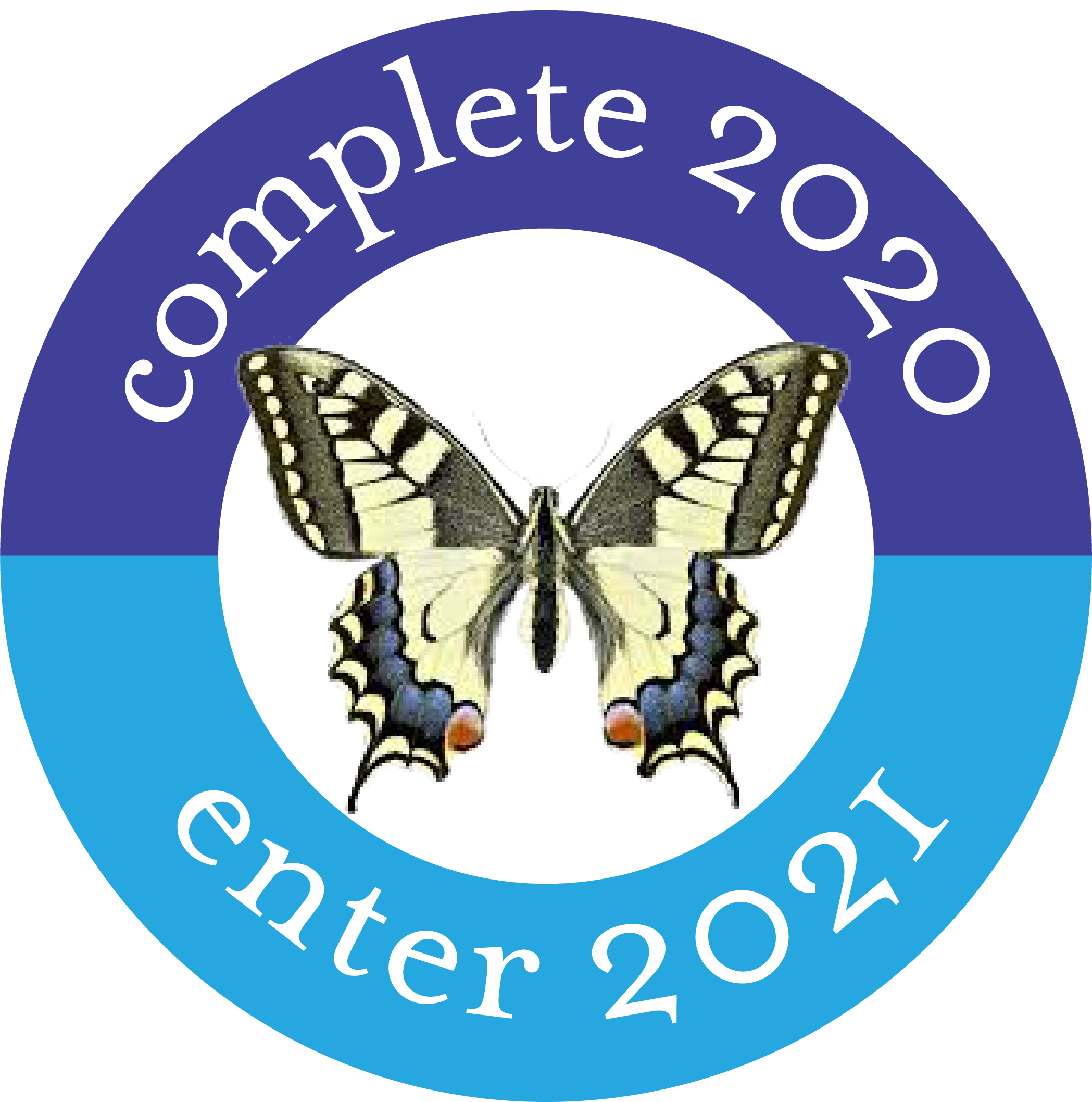 The words complete 2020, enter 2021 in a blue circle around a butterfly. Image for the Litus and the Lily.